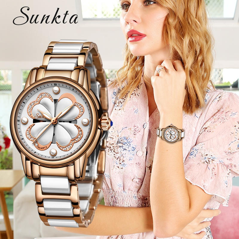 2019 SUNKTA nouveau Top marque de luxe étanche montres femmes mode Simple en céramique Quartz montre femmes robe horloge Relogio Feminino