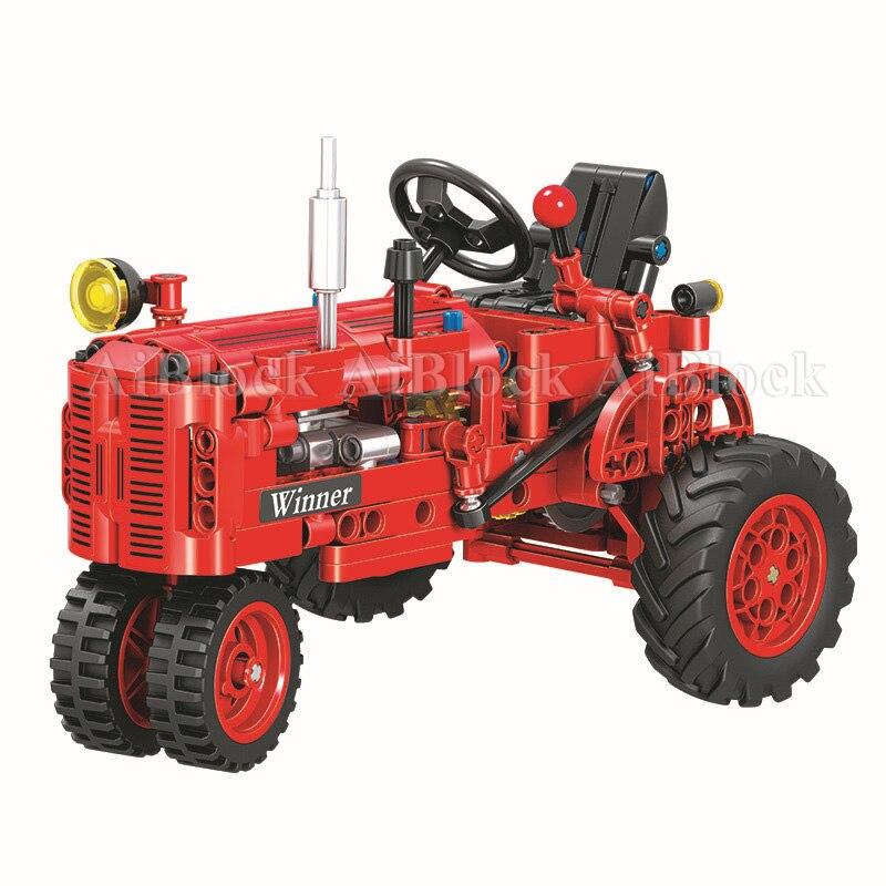 302 pçs tijolos técnica clássico trator caminhão cidade carro modelo blocos de construção menino presente aniversário crianças presentes brinquedos para crianças