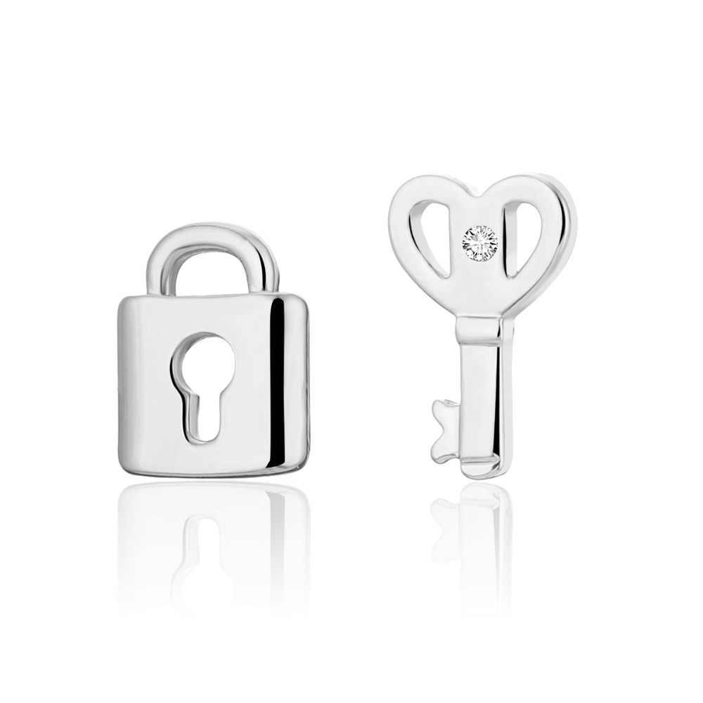 Zamek na klucz koreański kolczyki srebrny złoty proste złoto srebro małe słodkie małe kolczyki dla kobiet moda biżuteria 2019 za pendientes