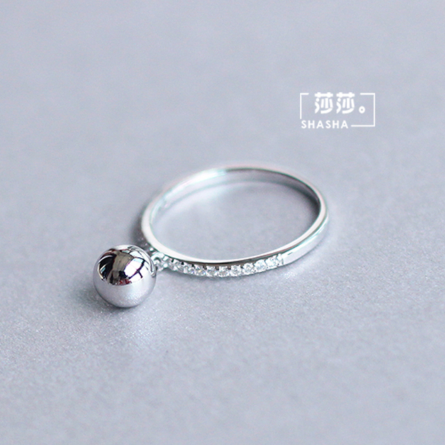 Korean Fashion Silver Color Ball Adjustable Size Rings For Women Ladies Luxury Jewelry Trendy Antique Ring Anillos 3