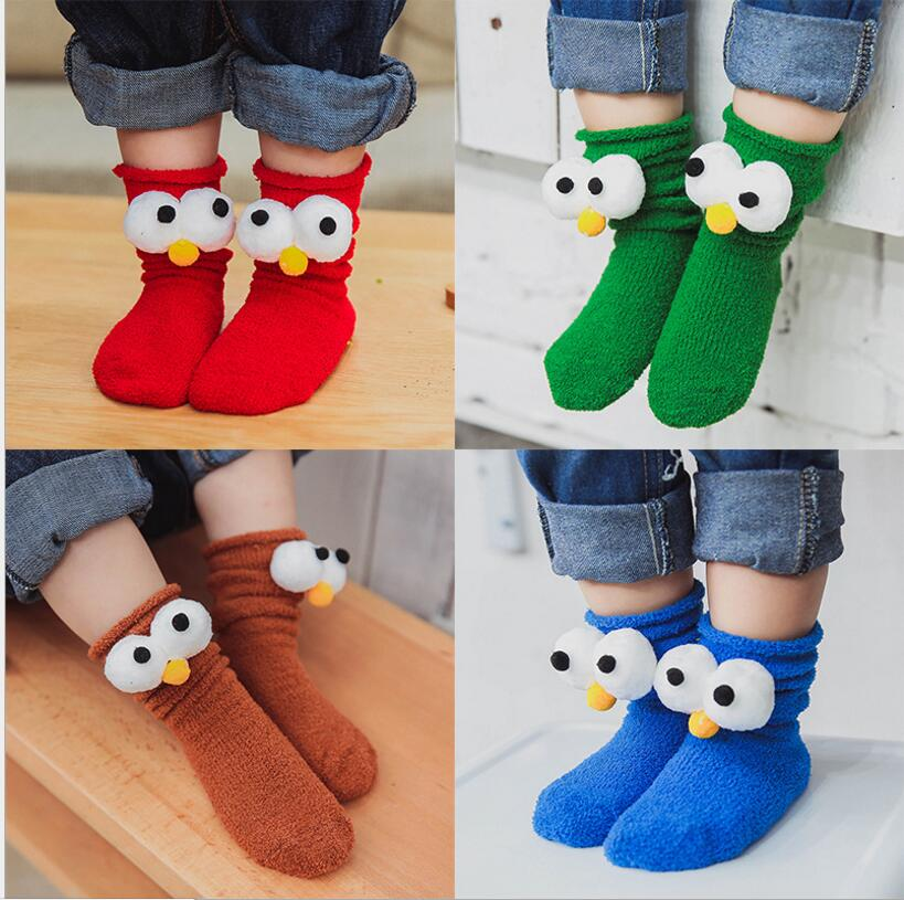 Newest Soft Cotton Children's Socks Kawaii Animal Eyes Panda Fox Pattern Baby Girls Boys Socks Warm Toddler Kids Socks For 0-10