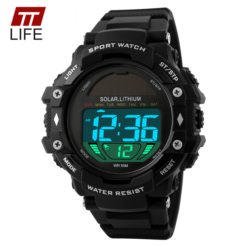 Ttlife mens sports watches solar power male led digital 50m water resistance watch outdoor for Solar power watches