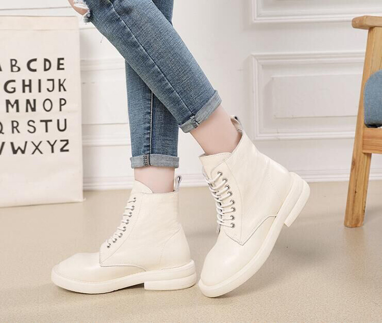 Martin Shoes Women's Round Head Thick Bottom Non-slip Natural Leather Hong Kong Version Duck Head Winter New Women's Shoes