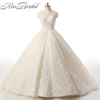 Luxury Ball Gown Wedding Dresses Princess Sweetheart Sleeveless Lace Up Applique Lace Court Train Bride Gown