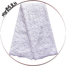 Latest French Laces Fabric High Quality African Lace Baby Pink Tulle Party White With Sequence