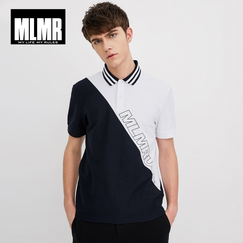 MLMR Men's Cotton Contrasting Turn-down Collar Short-sleeved Basic   Polo   Shirt Top Menswear M|218106521