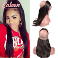 7A Top 360 Lace Frontal Closure Peruvian 360 Lace Virgin Hair Straight Frontal Peruvian Lace Frontals With Baby Hair 360 Frontal