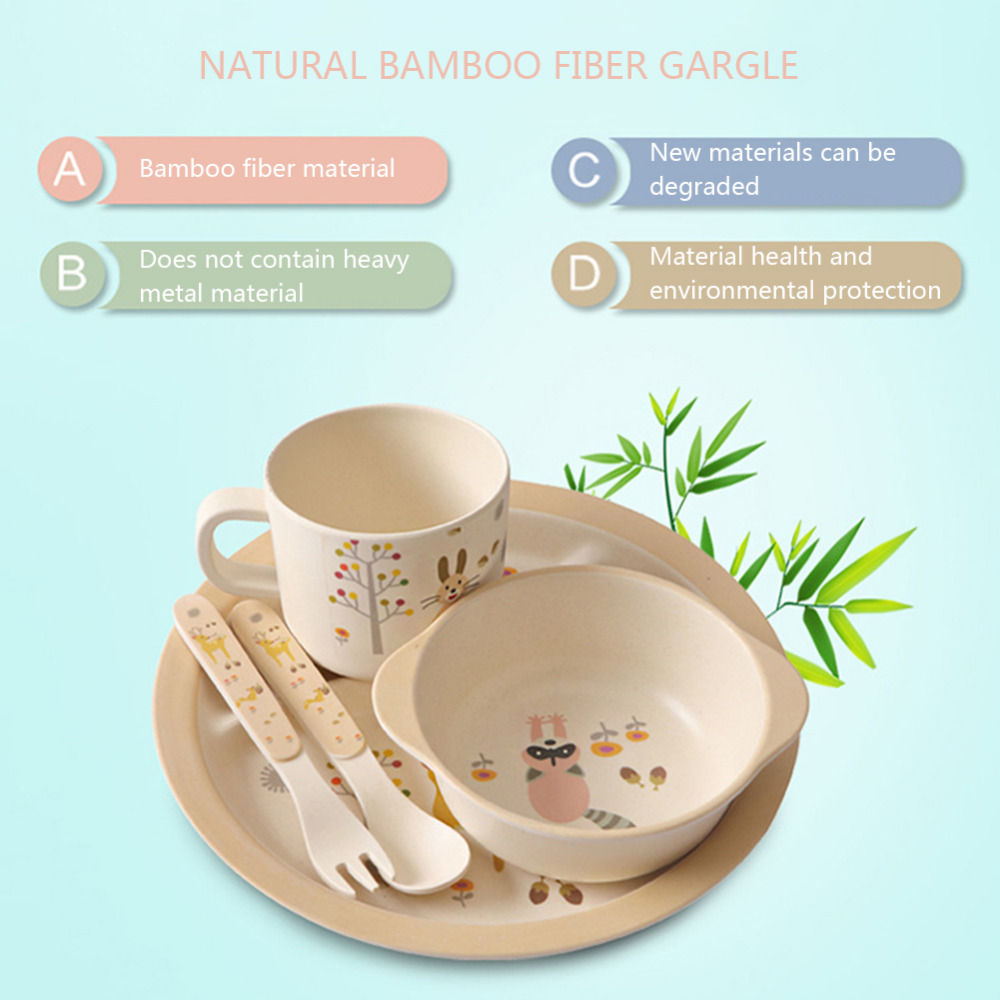 5pcs/set Bamboo Fiber Children Tableware Set Baby Dinnerware Plate Dishes Bowl Cup Spoon Plate Fork Feeding Set Food Container-in Dishes from Mother u0026 Kids ...  sc 1 st  AliExpress.com & 5pcs/set Bamboo Fiber Children Tableware Set Baby Dinnerware Plate ...
