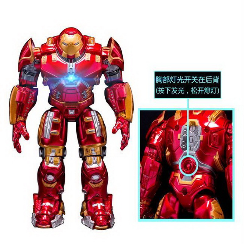 2018 Marvel Avengers 3 Iron Man Hulkbuster Armor Joints Movable Dolls Mark With LED Light PVC Action Figure Collection Model Toy