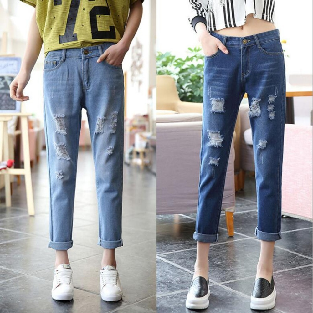buy 2017 rolled up women 39 s boyfriend ripped jeans for women femme loose demin. Black Bedroom Furniture Sets. Home Design Ideas