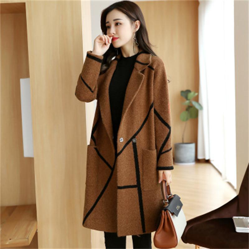 Женское длинное клетчатое пальто Nizi, Осеннее и зимнее пальто в Корейском стиле, 2019