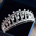 New High-end Nature Shell Pearls Brides Crown Headpieces AAAA Cubic Zirconia Crystal Tiara Hairbands Wedding Accessories