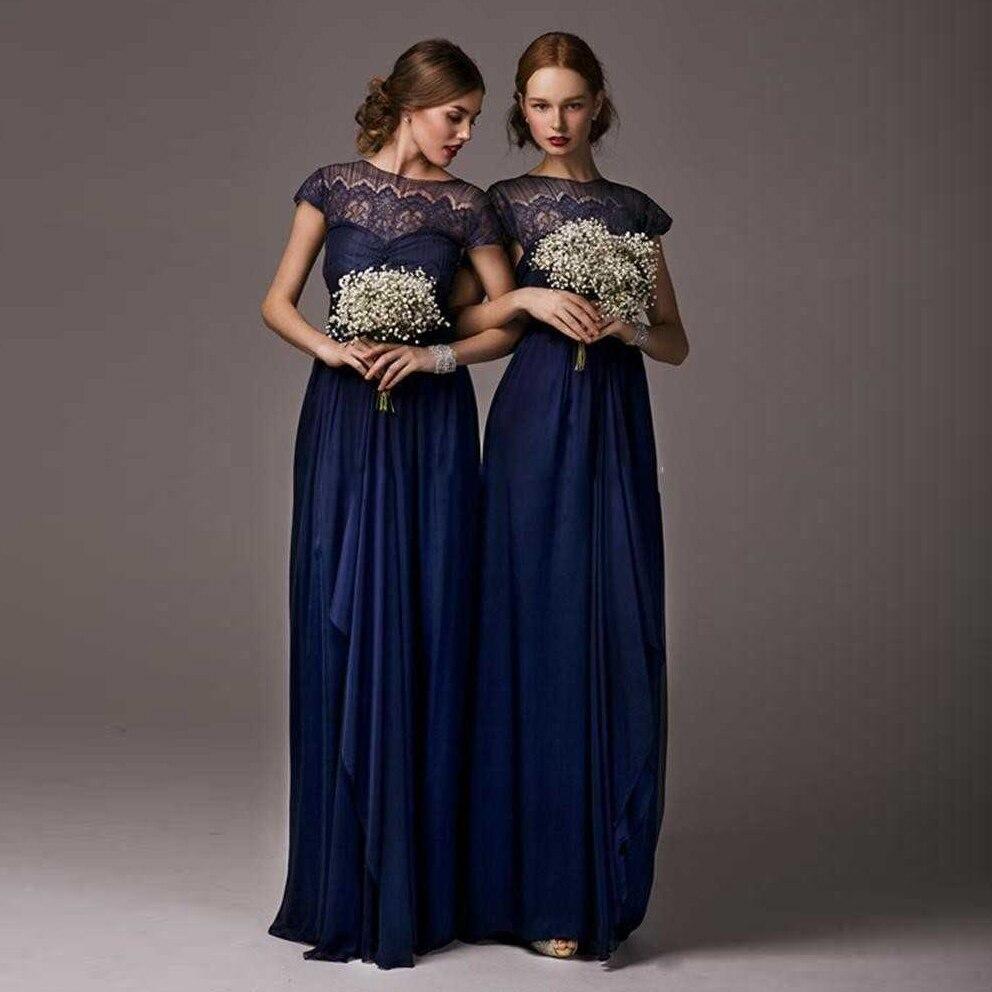 Vintage Blue Lace Bridesmaid Dresses