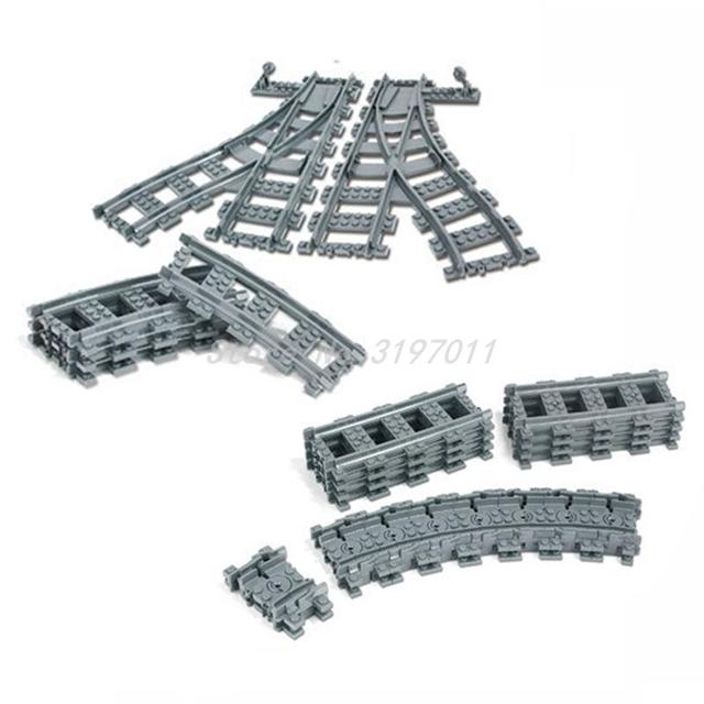 City Train Railway Flexible Curved and Straight Forked Rail Tracks Building Block Sets Models Kids Educational Toys