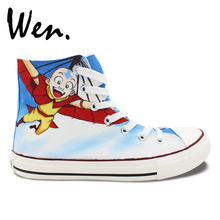 Wen Anime Hand Painted Shoes Custom Design Avatar The Last Airbender Unisex Casual Shoes Men Women's High Top Canvas Shoes