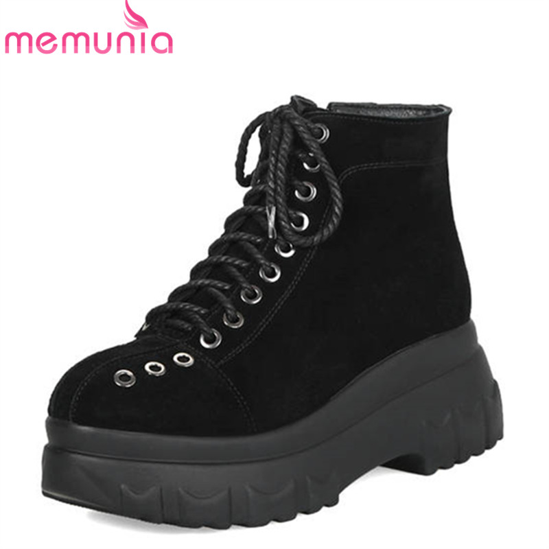 MEMUNIA 2018 top quality suede leather ankle boots women lace up punk platform boots round toe autumn winter boots shoes woman цены онлайн
