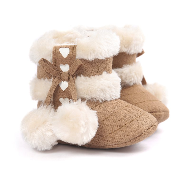 Spring Winter Baby Boots Soft Plush Ball Booties For Infant Girls Anti Slip Snow Boot Keep Warm Cute Crib Shoes