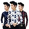 Frete grátis 2016 Outono Coreano novos homens de personalidade camisas de manga longa slim fit camisa xadrez estilo Britânico Metrosexual boate