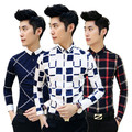free shipping 2016 Autumn Korean new men personality long sleeve shirts slim fit British style plaid Metrosexual nightclub shirt