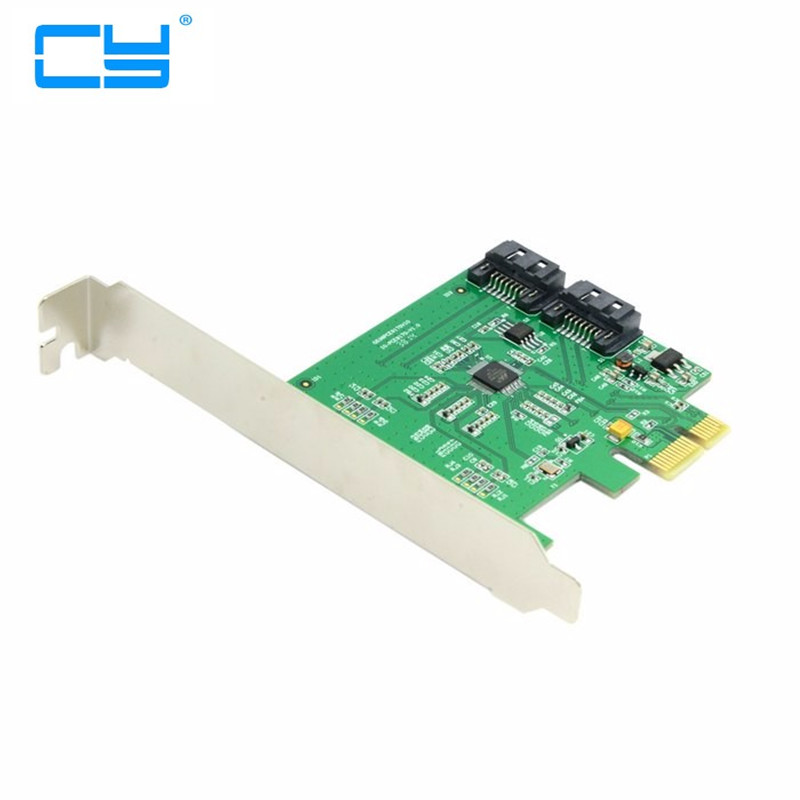 Low Profile Dual Ports Internal PCI-Express PCIE PCI-E express pci express SATA 3.0 6Gb/s Expansion adapter Card Marvell Chipset адаптер dell qlogic 2562 dual port 8gb fibre channel hba pci e x8 full profile kit 406 bbek