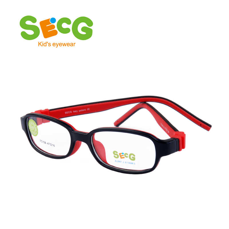 SECG Square Detachable Soft Kids Glasses Frame Flexible Students Solid Silicone Children Glasses Optical Eyeglasses Lunette