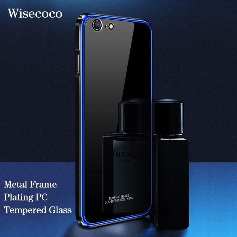 De luxe En Métal Pare-chocs Cas Pour Iphone 6 6 s Placage Cadre En Aluminium Dur En Verre Trempé Mince Couverture Arrière Pour Iphone 6 6 s S Plus Coque