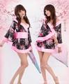 2017 Sexy Flor Floral Japonês Kimono Vestido Lingerie Banho Vestir Vestido Pijamas Sauna Costume #5814