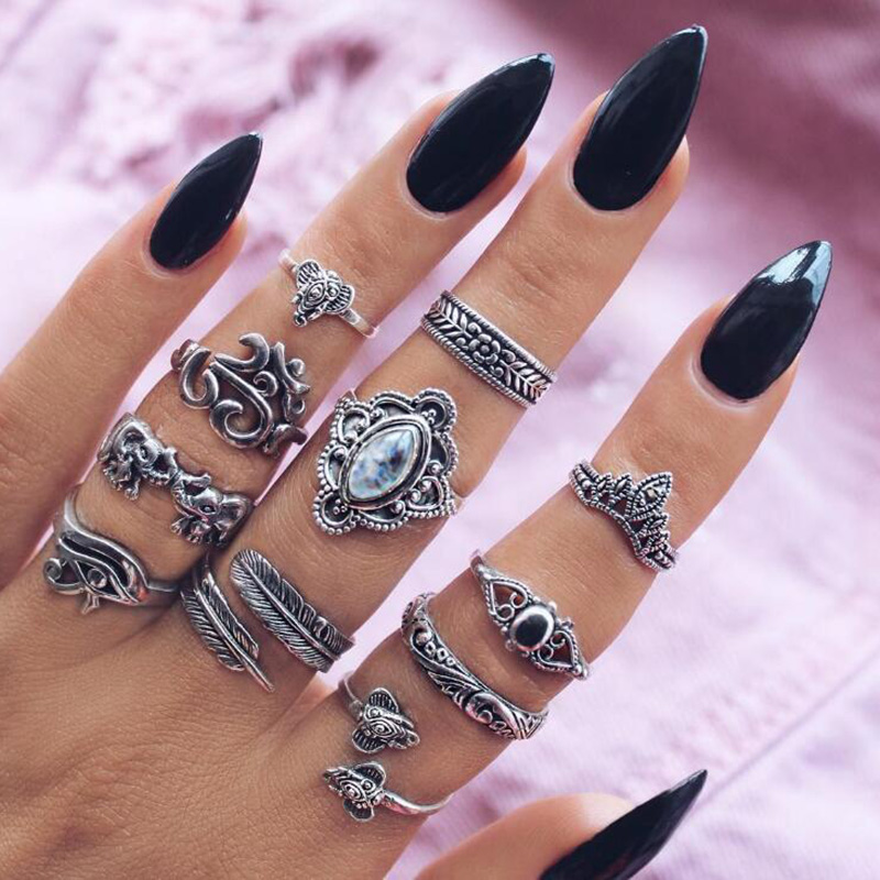 11 pcs/Set Open Ring Sets Women Antique Silver Color Midi Finger Hollow Flower Eye Crown Feather Knuckle Rings Elephant Jewelry