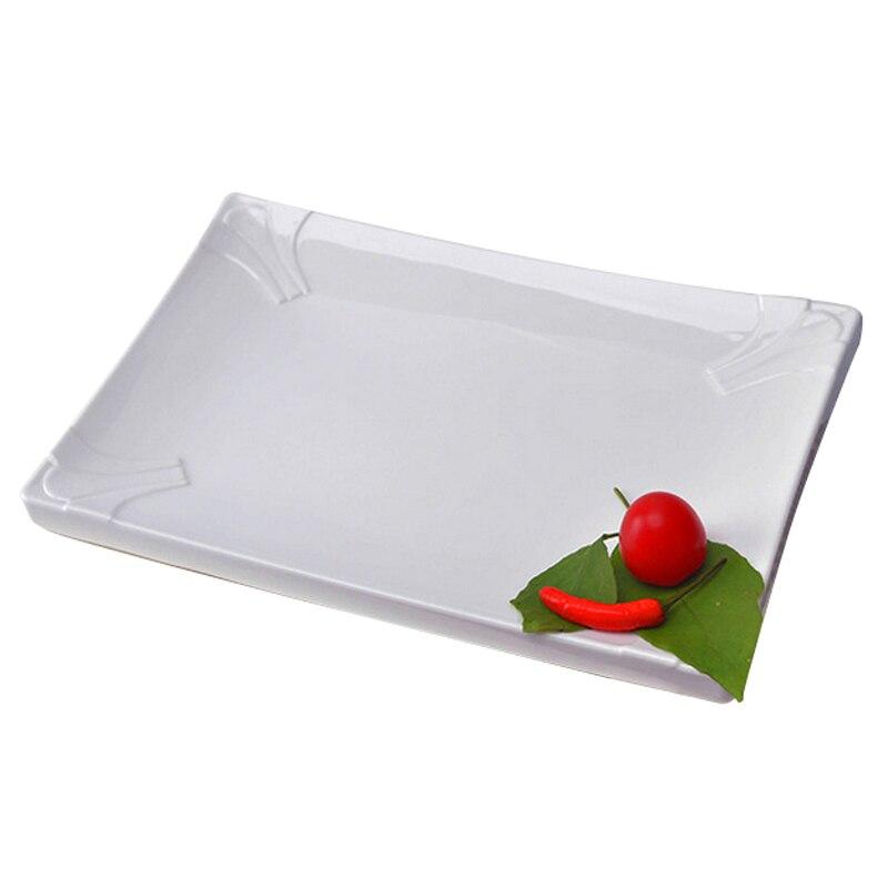 Hot Sale Melamine Food Dishes Simple White Tableware Rectangle Shape Porcelain Plate For Fish Vegetable Steak Restaurant Use