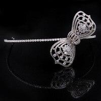 MANWIIFresh Shine Bride Headdress Korean Wedding Hair Ornaments Simple Zircon Crown Sweet Bow Tie AccessoriesAC240