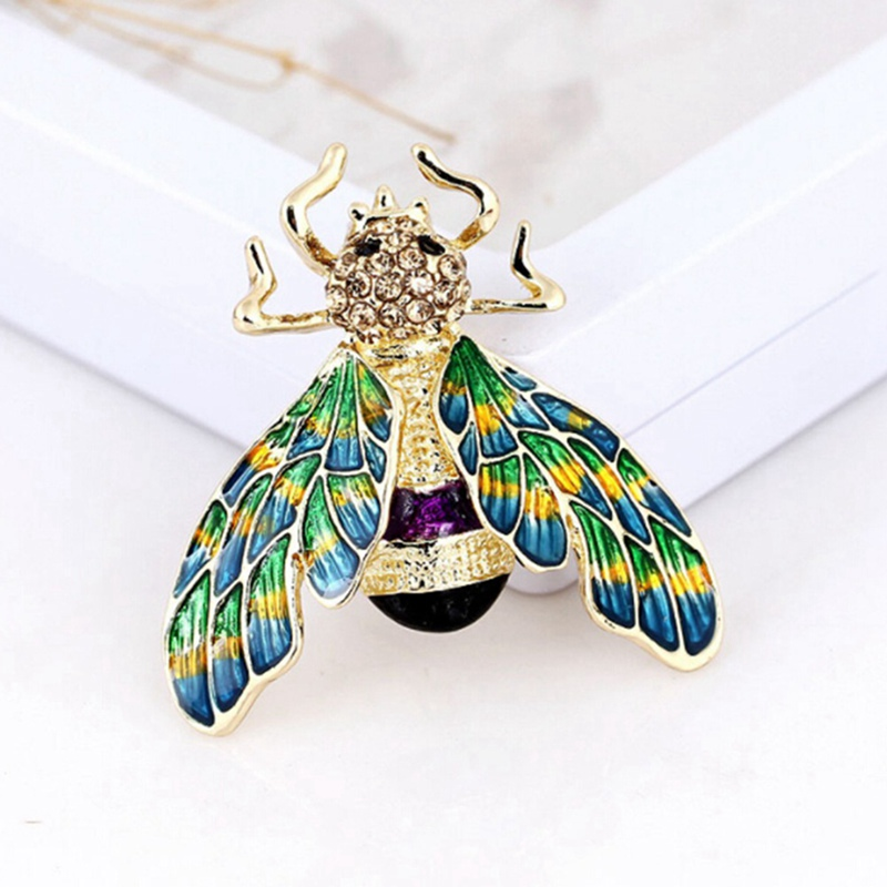 1PC Beautiful Green Purple Enamel Insect Bee Brooch Crystal Gold-color Alloy Metal Brooches For Shoulder Scarf Sweater Pins