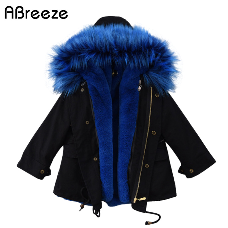 Winter children Rabbit faux fur grass coat fox faux fur collar cotton coat for boys girls fashion children's clothing coats boys children s unisex faux fur clothing 2018 winter girls and boys patchwork faux fur jackets boys long faux fur outerwear kids coat