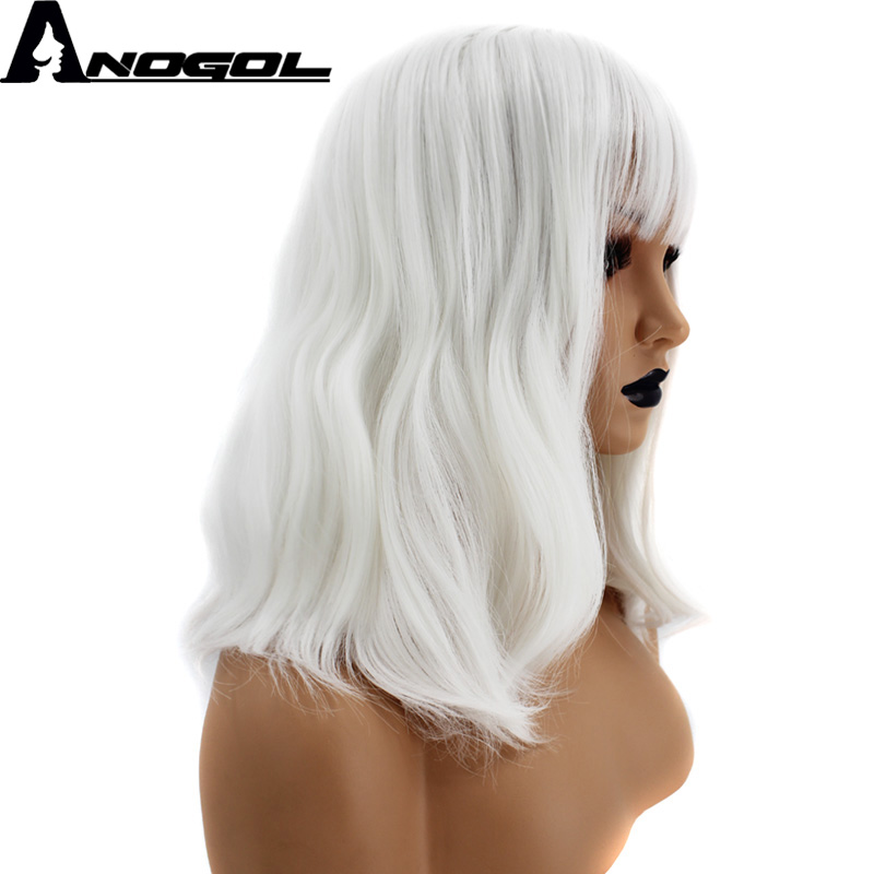 Anogol Pure White High Temperature Fiber Long Naural Wave Synthetic Wig For Women With Flat Bangs