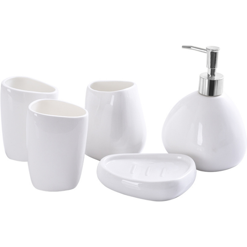 Ceramics Bathroom Accessories Set Soap Dispenser/Toothbrush Holder/Tumbler/Soap Dish Cotton Swab Aromatherapy Bathroom Product
