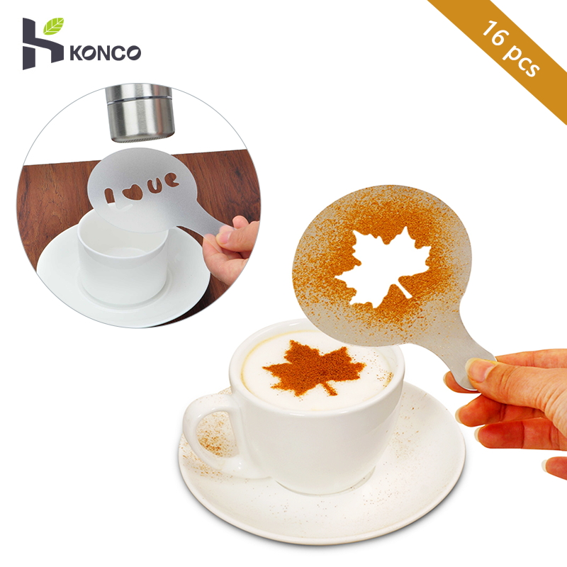 KONCO 16Pcs Coffee Stencil  Cafe Barista Tools Latte Art Maker Cappuccino Coffee Accessories