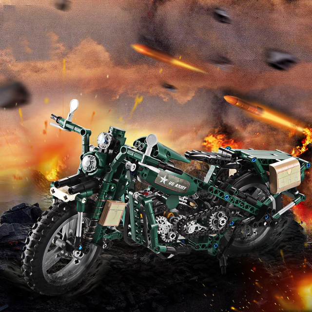 Large Technic US Army Motorcycle 4