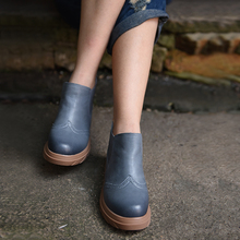 2016 autumn thick soles genuine leather boots women casual flat shoes Chelsea boots ankle boots