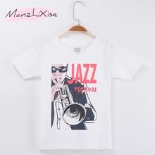 2019 Hot Sale Children Clothing Kids T-shirt Jazz Festival Print 100% Cotton Boys Short Sleeve T Shirts Baby Girl Clothes Tops singapore jazz festival 2017 saturday