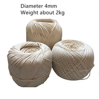Cord, string. 4mm 2kg Natural cotton rope DIY weaving zongzi rope white cotton cord bundled rope inlay tag rope