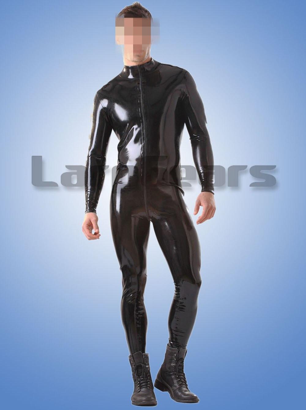 100% Latex Gummi Zentai Catsuit 0,4mm Fetisch Mann Latex Body Anzug Tragen