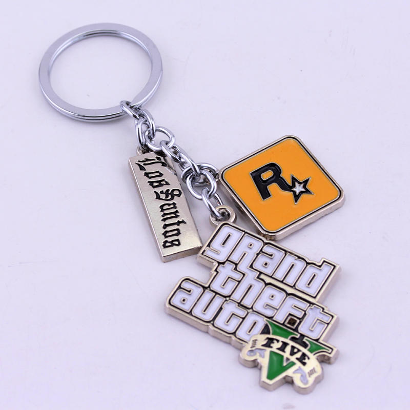 Muti-Pendant Key Holder PS4 Xbox PC Rockstar Game GTA V Grand Theft Auto 5 Keychains For Men Boys Fans Key Chian Key Ring