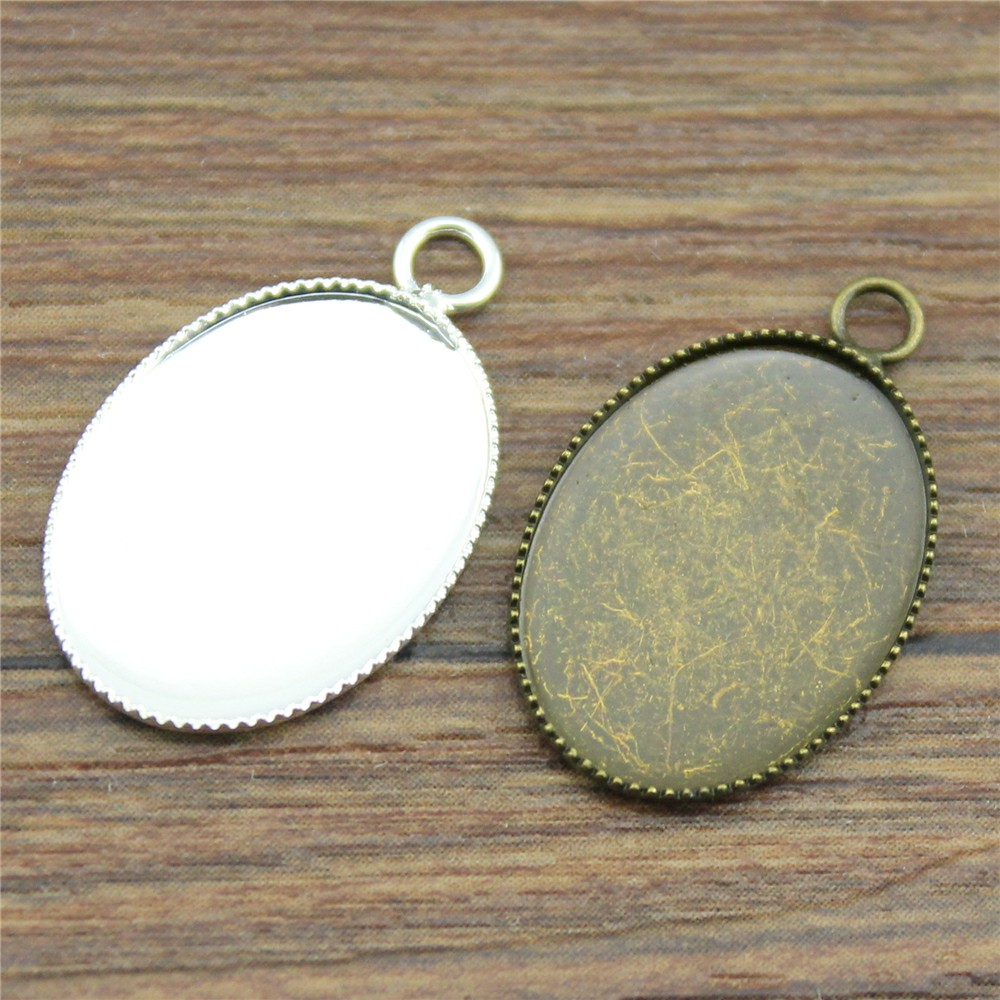20pcs Fit 13x18/18x25mm Oval Glass Cabochon Sawtooth Edge Base Setting Charms Pendant Tray 1 pair fit 18x25mm oval shape glass cabochon zinc alloy dangle earrings hooks cabochon base setting diy jewelry findings making