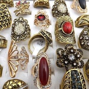 Image 3 - 50 pcs Vàng Màu Sắc Phong Cách Baroque Cổ Điển Rhinestone Nhẫn Thiết Kế Hỗn Hợp Cho Phụ Nữ