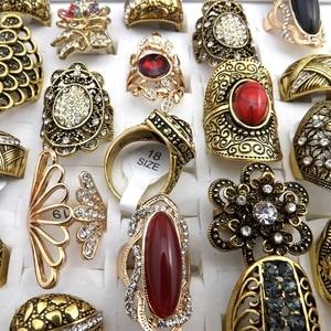 Image 3 - 50 sztuk złoty kolor styl barokowy Vintage Rhinestone pierścionki mieszane wzory dla kobiet