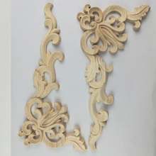 Unpainted Wood Carving Stamp Applique Crafts Furniture Closet Door Frame Home Decoration Accessories Miniature Figurine