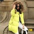 2016 Nova Moda Mulheres Básico Casacos Parka Com Capuz Jaqueta de Inverno Feminino Gola De Pele Casaco de Inverno Mulheres Jaqueta Com Zíper das Mulheres D905