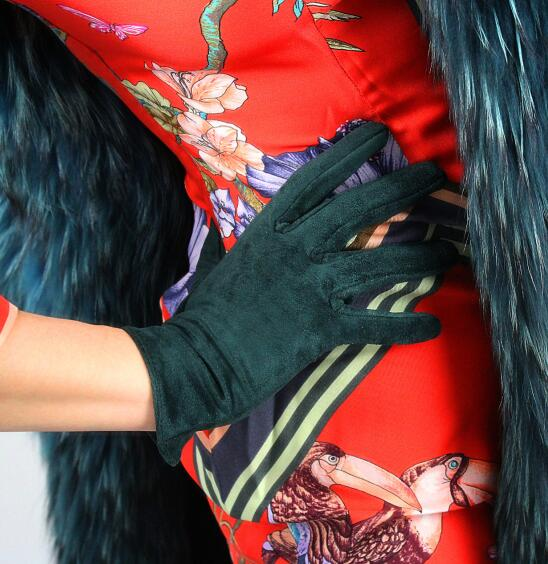 Women's Faux Suede Leather Dark Green Short Gloves Female Sexy Club Party Dress Fashion Driving Glove 21cm R1283