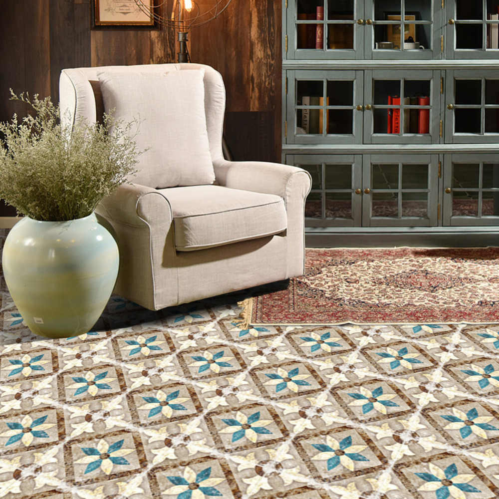 Mode Marokkaanse Patroon Tegels Vloer Stok PVC Waterdichte Zelfklevende Behang Art Decal Meubels Badkamer Woonkamer Home Deco