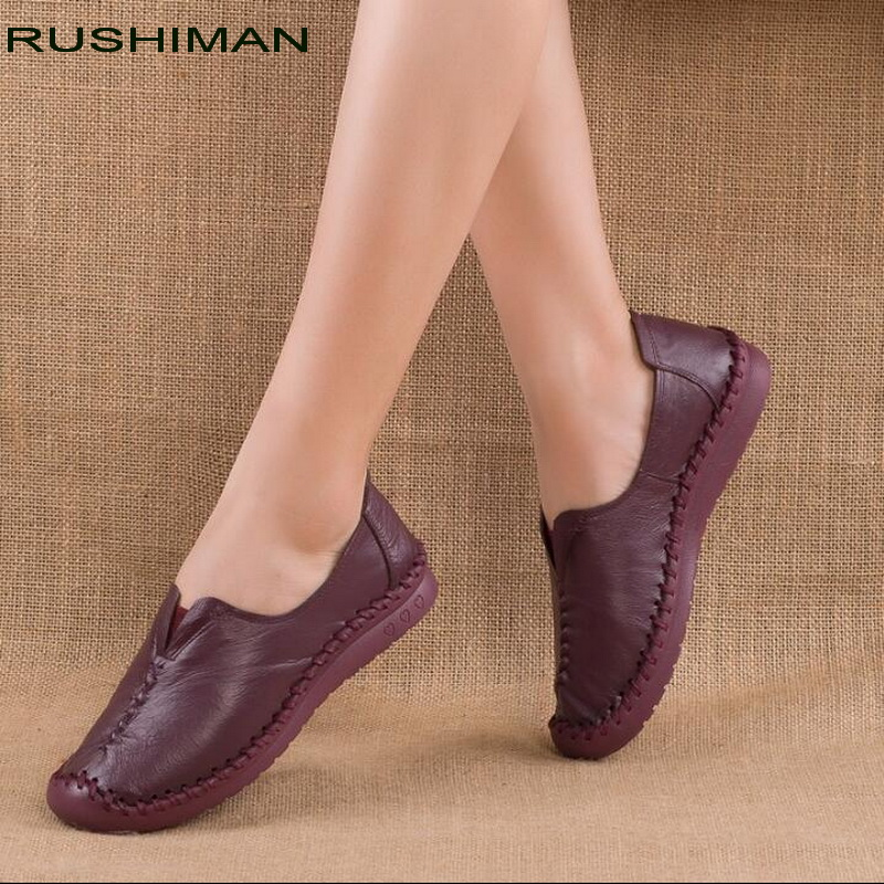 RUSHIMAN Loafers Woman Genuine Leather Flat Shoes Breathable Soft Bottom Casual Shoes Women Big Size handmade