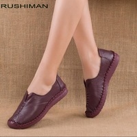 RUSHIMAN Loafers Woman Genuine Leather Flat Shoes Breathable Soft Bottom Casual Shoes Women Big Size handmade Flat Shoes